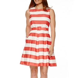 R&k Originals - Sleeveless Stripe Fit-And-Flare Dress