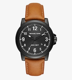 Michael Kors - Paxton Black-Tone And Leather Watch