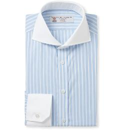 TURNBULL & ASSER  - Slim-fit Contrast-collar Cotton Shirt