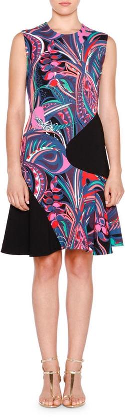 Emilio Pucci - Sleeveless Two-Tone Multi-Print Dress