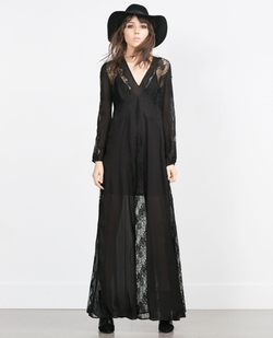Zara - Long Silk Studio Dress With Lace