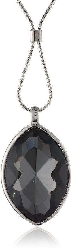 "Kenneth Cole New York  - ""Marquis Stone"" Faceted Oval Gem Long Pendant Necklace"
