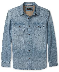 GUESS  - Long Sleeve Shirt, Skull-Print Denim