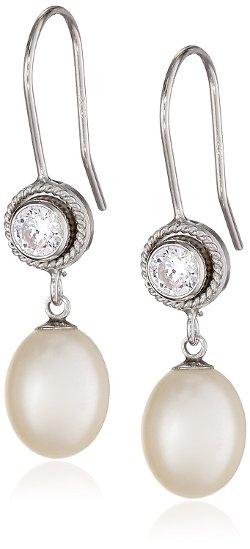 Bella Pearl - Bezel Braided Dangling Drop Earrings