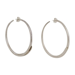 Chanel  - Silver Oversized Peirced Hoop Earrings