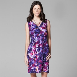 Simply Vera Vera Wang  - Print Crinkle Smocked Dress