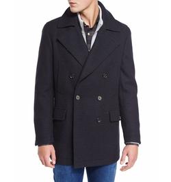 Neiman Marcus  - Plaid Wool Pea Coat