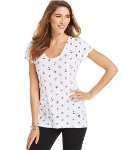 Style&co. - Short-Sleeve Anchor-Print Tee