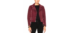 Theperfext - London Belted Suede Moto Jacket