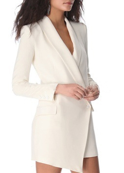Rosewe - Asymmetric Hem Turndown Collar Blazer Dress