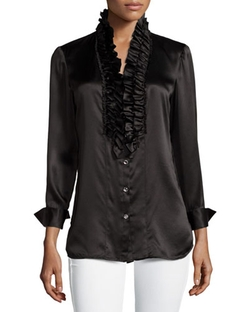 Paperwhite - Silk Ruffle-Front Long-Sleeve Blouse