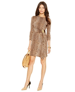 Michael Michael Kors - Leopard-Print Faux-Wrap Sheath Dress