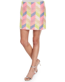 Milly  - Couture Chevron Mini Skirt