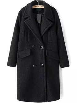 Bernard Laton - Lapel Double Breasted Pockets Long Coat