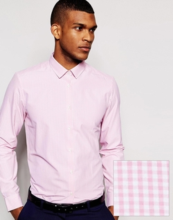 Asos - Mini Gingham Check Long Sleeve Smart Shirt