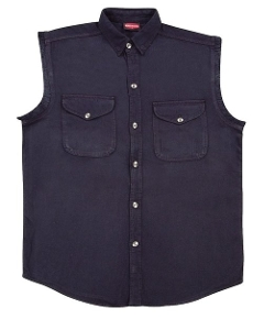 Bikers Edge - Sleeveless Button Front Denim Shirt