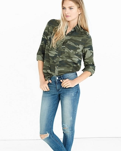 Express - Camo Silky Soft Twill Boyfriend Shirt