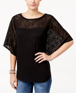Style & Co.  - Lace-Trim Poncho Top
