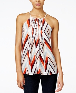 Bar III  - Chevron Pleated Halter Top