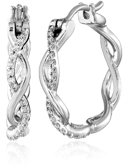Amazon Collection - Sterling Silver And Diamond Hoop Earrings