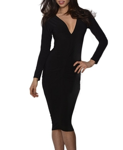 ChicNova - V-Neck Long Sleeves Dress