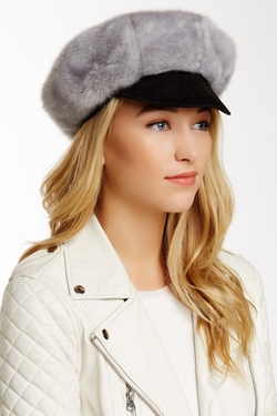 Surell  - Faux Fur Newsboy Hat