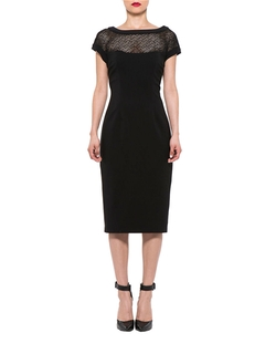 Alexia Admor - Illusion-Neck Cap-Sleeve Dress