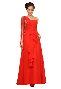 Wajy - One Shoulder Ruffled Evening Party Gown