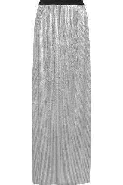 Enza Costa  - Pleated Metallic Jersey Maxi Skirt