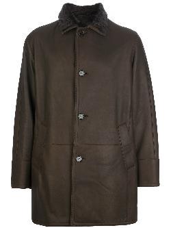ENRICO MANDELLI  - shearling lined overcoat