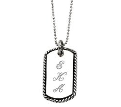 QVC - Stainless Steel Oxidized Engravable Pendant Chain
