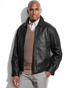 Perry Ellis  - Portfolio Big and Tall Leather Bomber Jacket