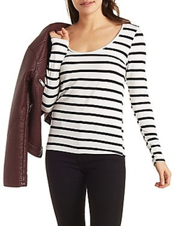 Charlotte Russe - Striped Lace-Back Top
