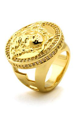 King Ice  - 14K Yellow Gold CZ Medusa Ring
