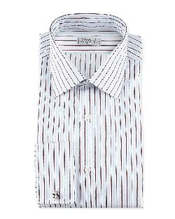Charvet  - Striped French-Cuff Poplin Dress Shirt, Blue/White