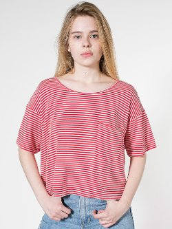 American Apparel - Stripe Mid-Length Pocket Tee Shirt