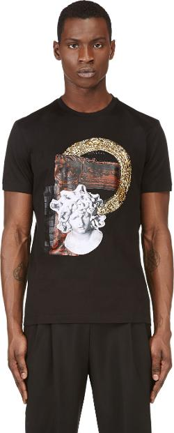 Versace -  Black Sequin Embellished MedUSA T-Shirt