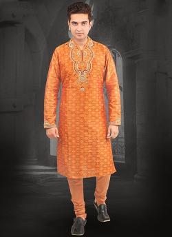 India Emporium - Impressive look Orange Resham Embroidered Kurta Pajama