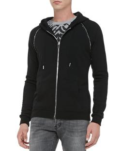 Saint Laurent  - Zip Hoodie with Studded Trim