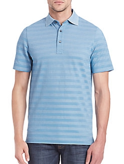Saks Fifth Avenue Collection - Striped Pima Cotton Blend Polo