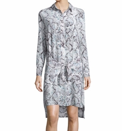 Derek Lam 10 Crosby - Long-Sleeve Poplin Tie-Waist Shirtdress