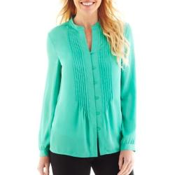 Liz Claiborne - Long-Sleeve Pintuck Blouse with Cami