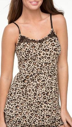 PJ Salvage  - Heart Modal Leopard Camisoles