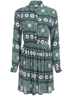 Romwe - Print Buttons Shirt Dress