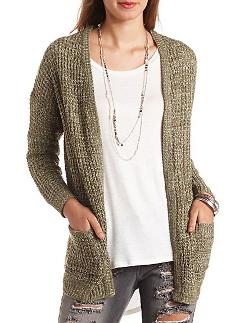 Charlotte Russe - Marled Waffle Knit Pocket Cardigan Sweater