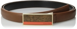 Calvin Klein - Semi-Shine Leather Belt with Wood Detail