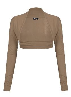 Forever  - Girls Plain Long Sleeves Front Open Stretchy Bolero Shrug
