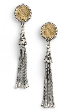 Konstantino  - Coin Tassel Drop Earrings