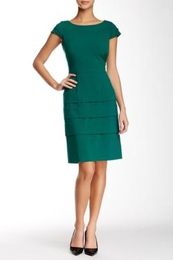 Tahari - Bi-Stretch Tiered Sheath Dress