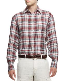 Brunello Cucinelli  - Plaid Linen Shirt